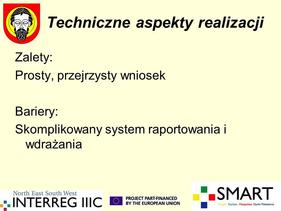 Techniczne aspekty realizacji Zalety: Prosty, przejrzysty wniosek Bariery: Skomplikowany system raportowania i wdrażania