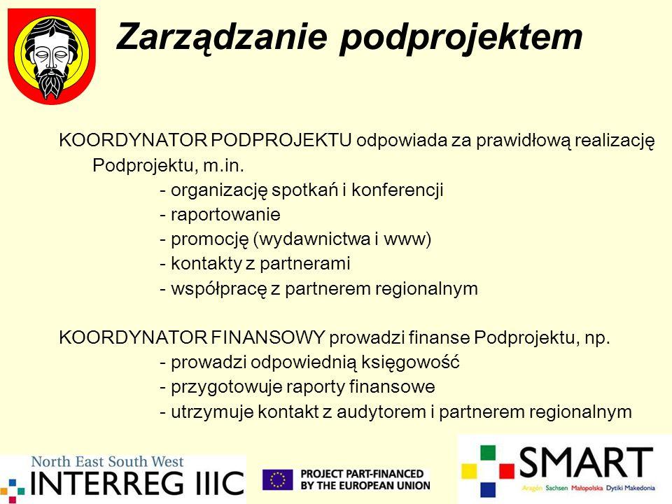 Zarządzanie podprojektem KOORDYNATOR PODPROJEKTU odpowiada za prawidłową realizację Podprojektu, m.in. - organizację spotkań i konferencji - raportowa