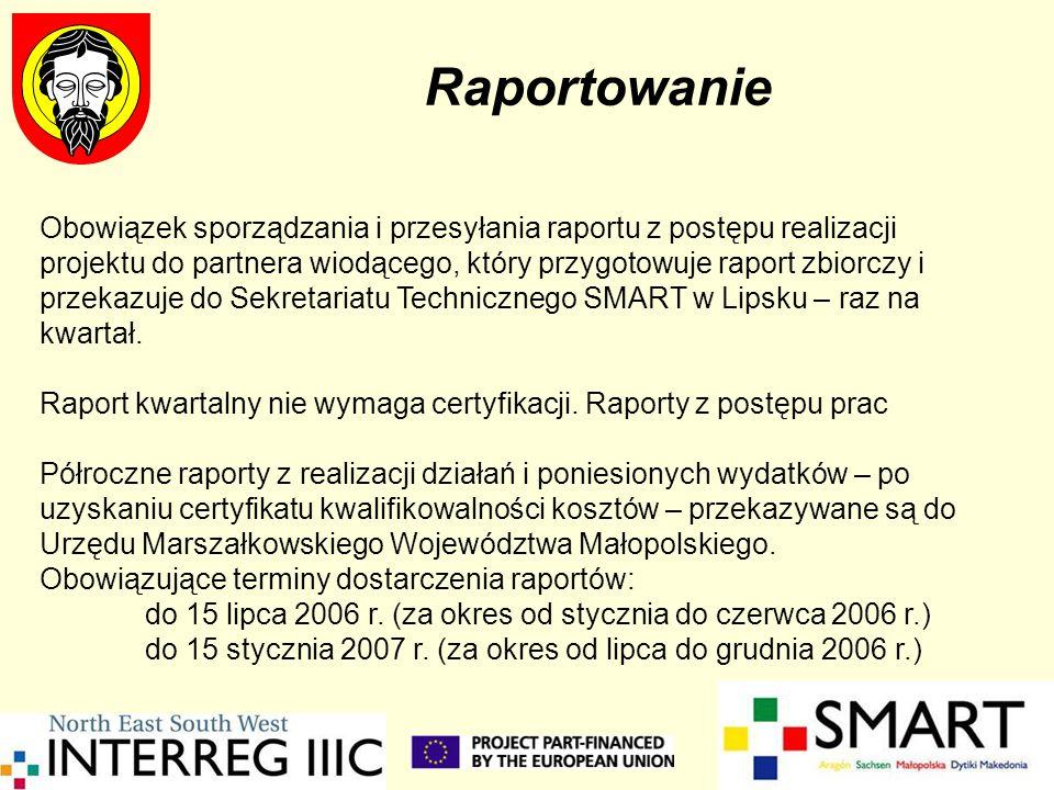 Raportowanie Obowiązek sporządzania i przesyłania raportu z postępu realizacji projektu do partnera wiodącego, który przygotowuje raport zbiorczy i pr