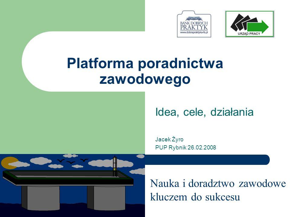 Cel prezentacji Czy Platforma poradnictwa może być sposobem na poradnictwo całożyciowe, międzyinstytucjonalne – próba analizy na podstawie pierwszych doświadczeń.