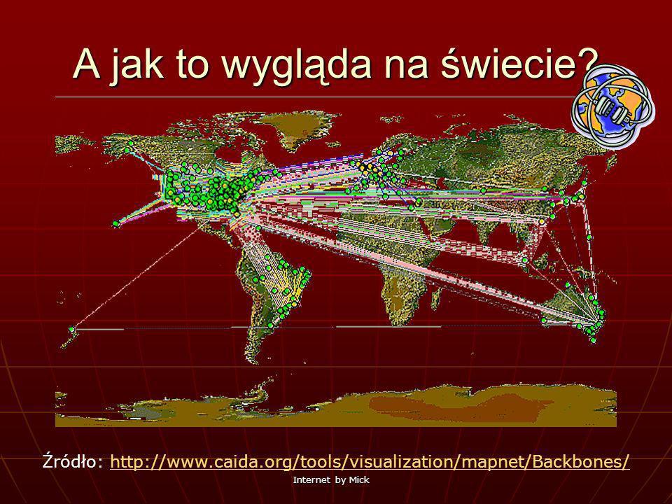 Internet by Mick A jak to wygląda na świecie? Źródło: http://www.caida.org/tools/visualization/mapnet/Backbones/http://www.caida.org/tools/visualizati