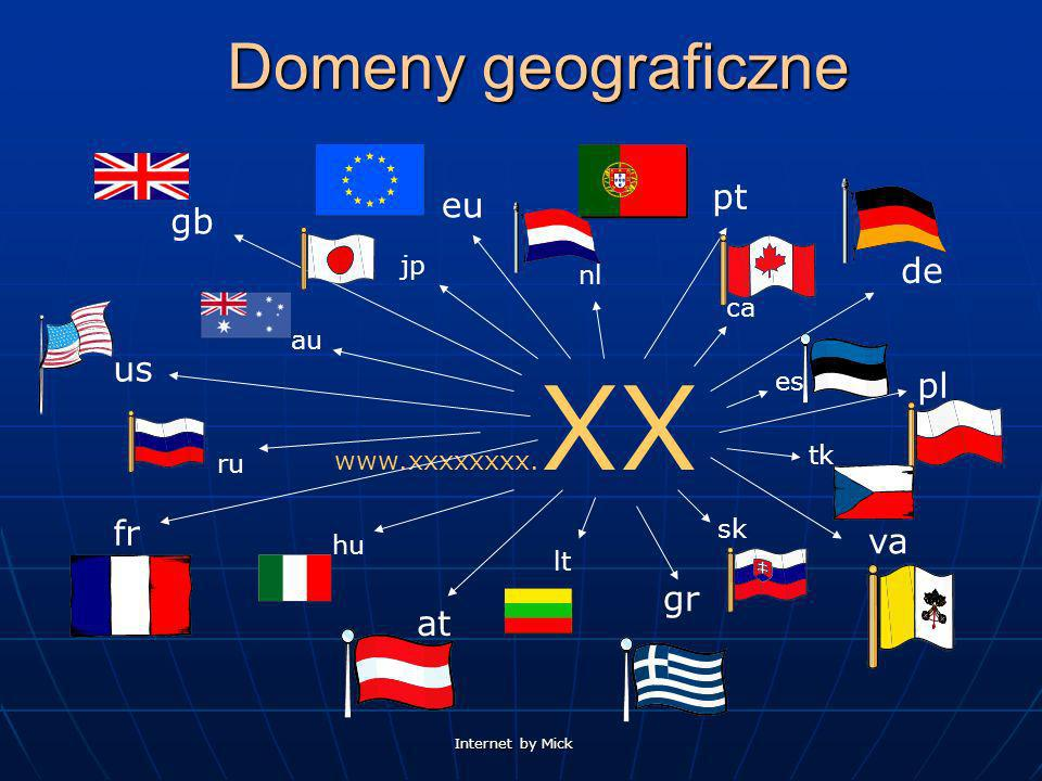 Internet by Mick Domeny geograficzne www.xxxxxxxx. XX pt de pl us va gr at fr eu gb au ru hu lt sk tk es ca nl jp