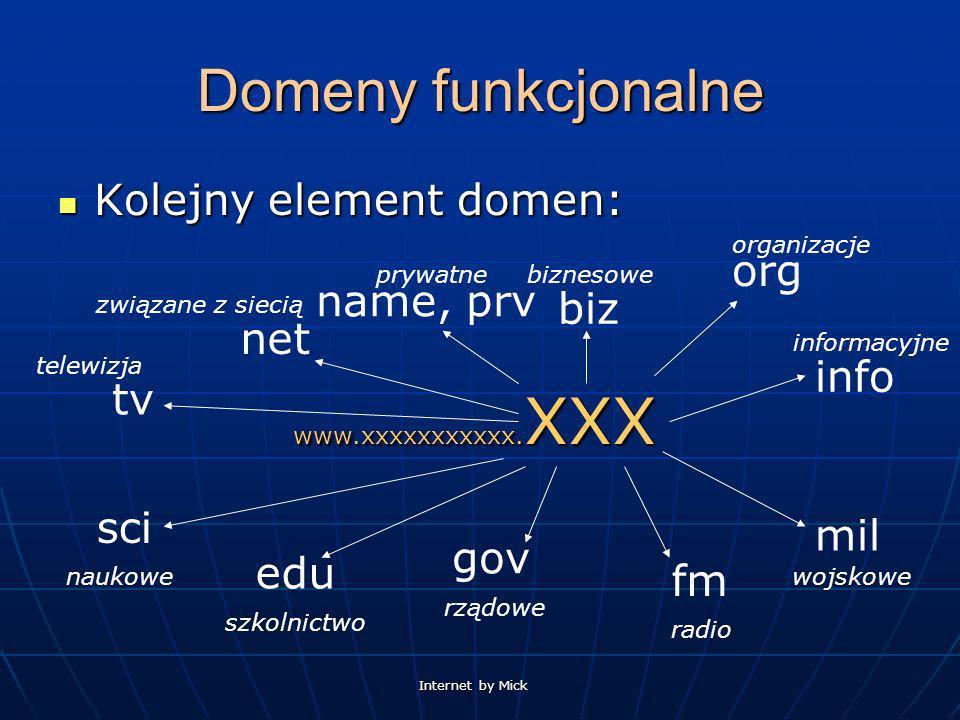Internet by Mick Domeny funkcjonalne Kolejny element domen: Kolejny element domen: www.xxxxxxxxxxx. XXX tv fm biz sci net edu gov mil info name, prv o