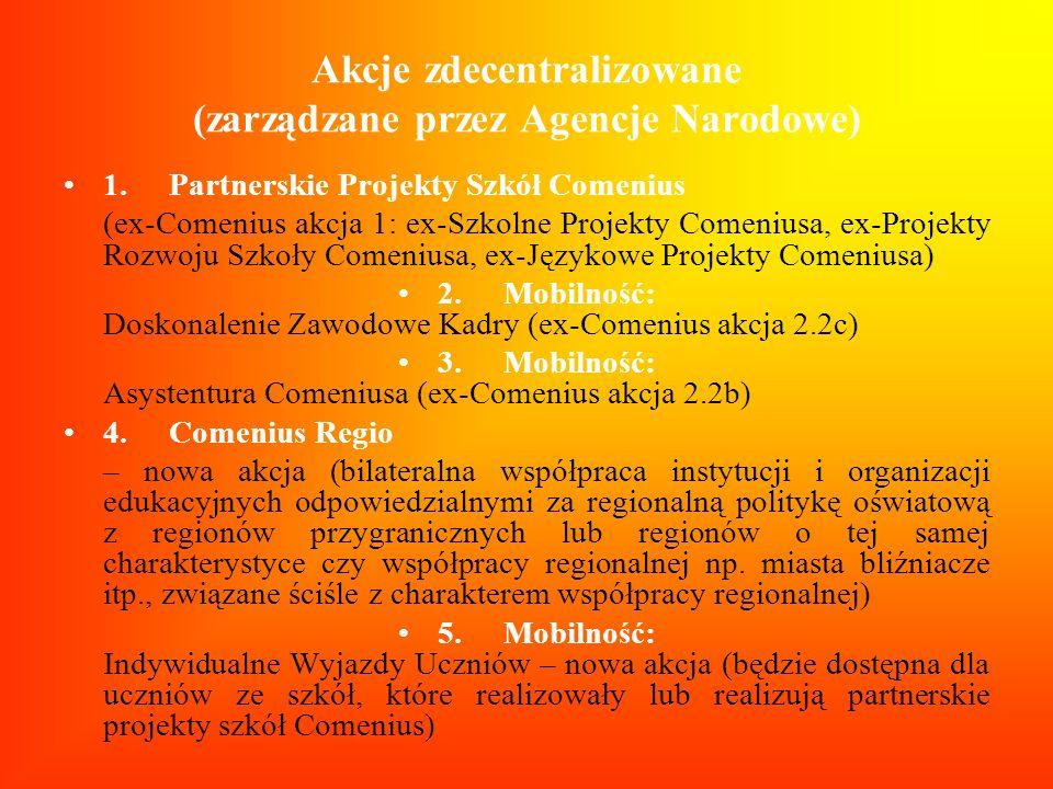 Akcje zdecentralizowane (zarządzane przez Agencje Narodowe) 1.Partnerskie Projekty Szkół Comenius (ex-Comenius akcja 1: ex-Szkolne Projekty Comeniusa,