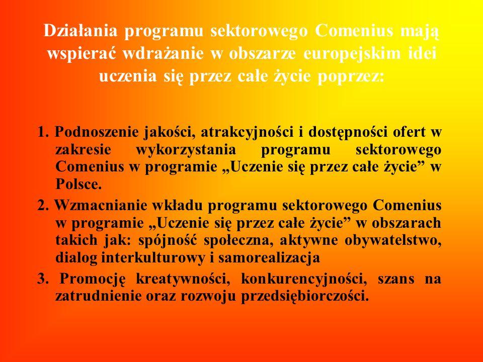 Działania programu sektorowego Comenius mają wspierać wdrażanie w obszarze europejskim idei uczenia się przez całe życie poprzez: 1. Podnoszenie jakoś