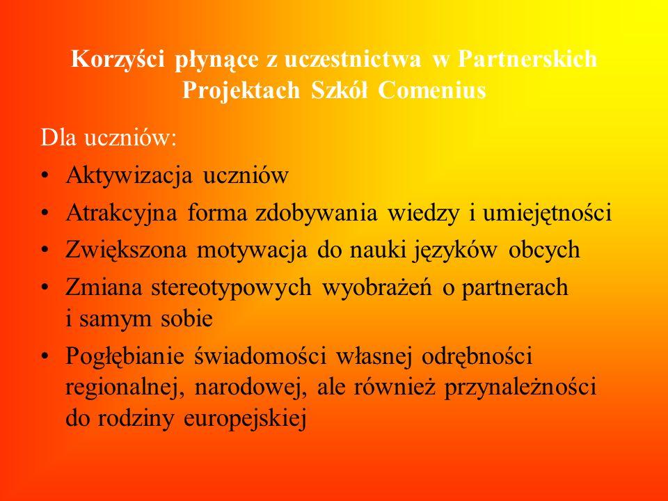 Korzyści płynące z uczestnictwa w Partnerskich Projektach Szkół Comenius Dla uczniów: Aktywizacja uczniów Atrakcyjna forma zdobywania wiedzy i umiejęt