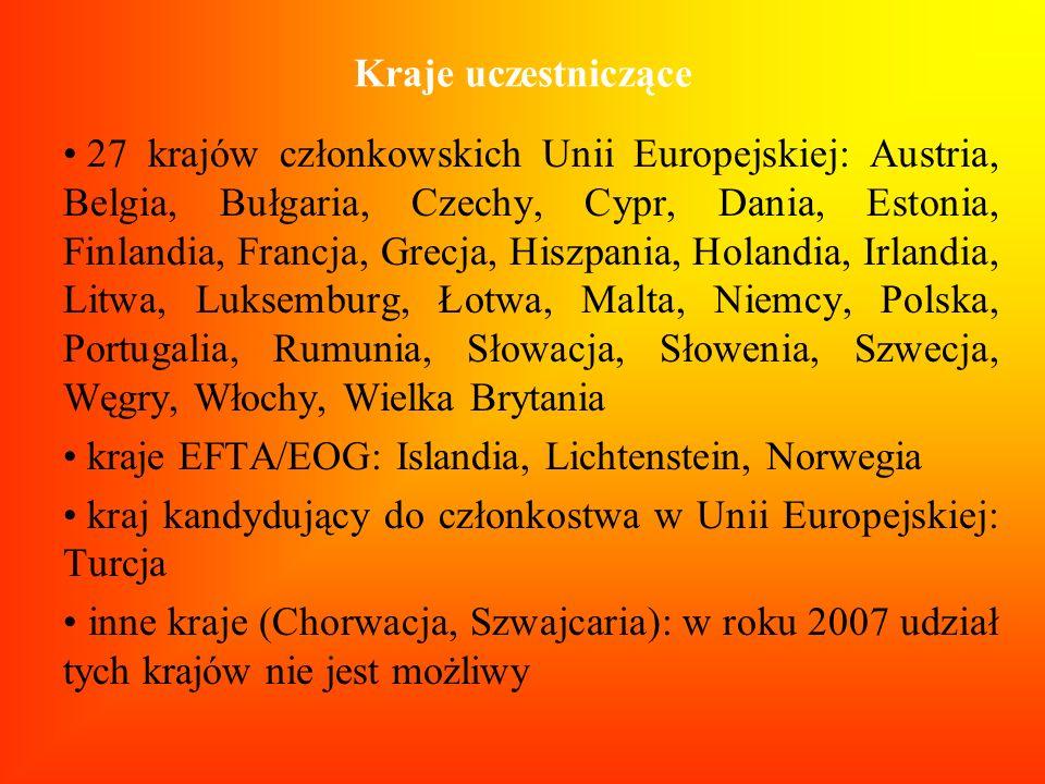Kraje uczestniczące 27 krajów członkowskich Unii Europejskiej: Austria, Belgia, Bułgaria, Czechy, Cypr, Dania, Estonia, Finlandia, Francja, Grecja, Hi