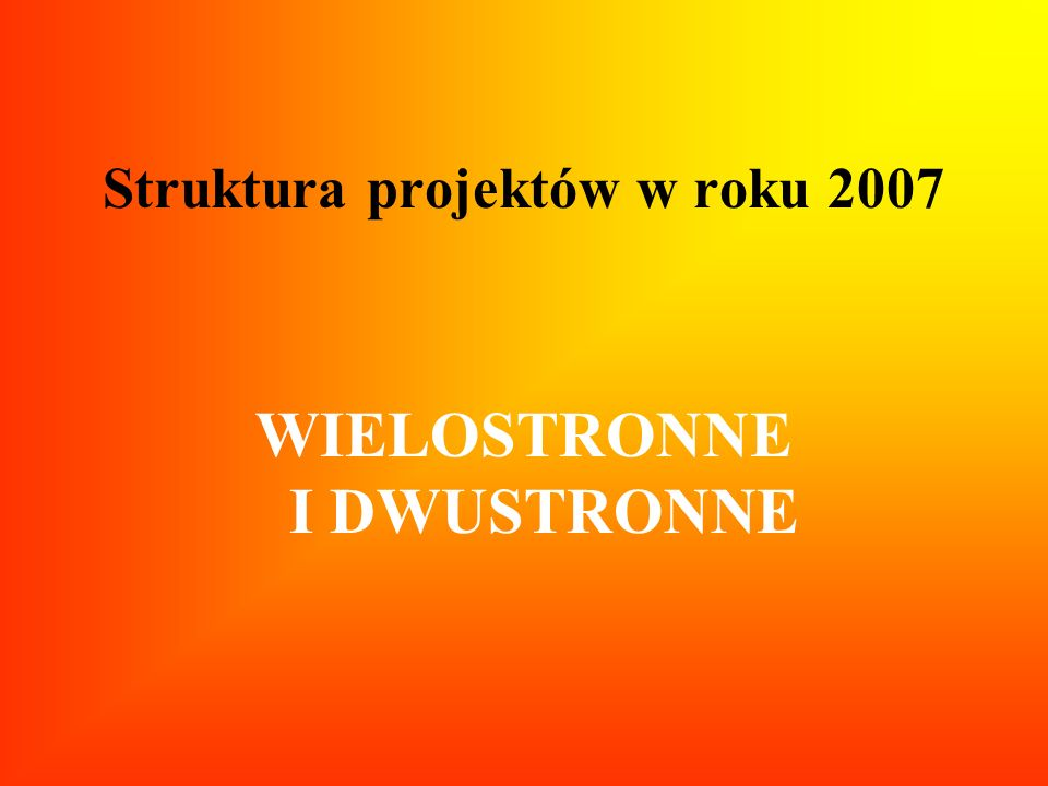 Struktura projektów w roku 2007 WIELOSTRONNE I DWUSTRONNE