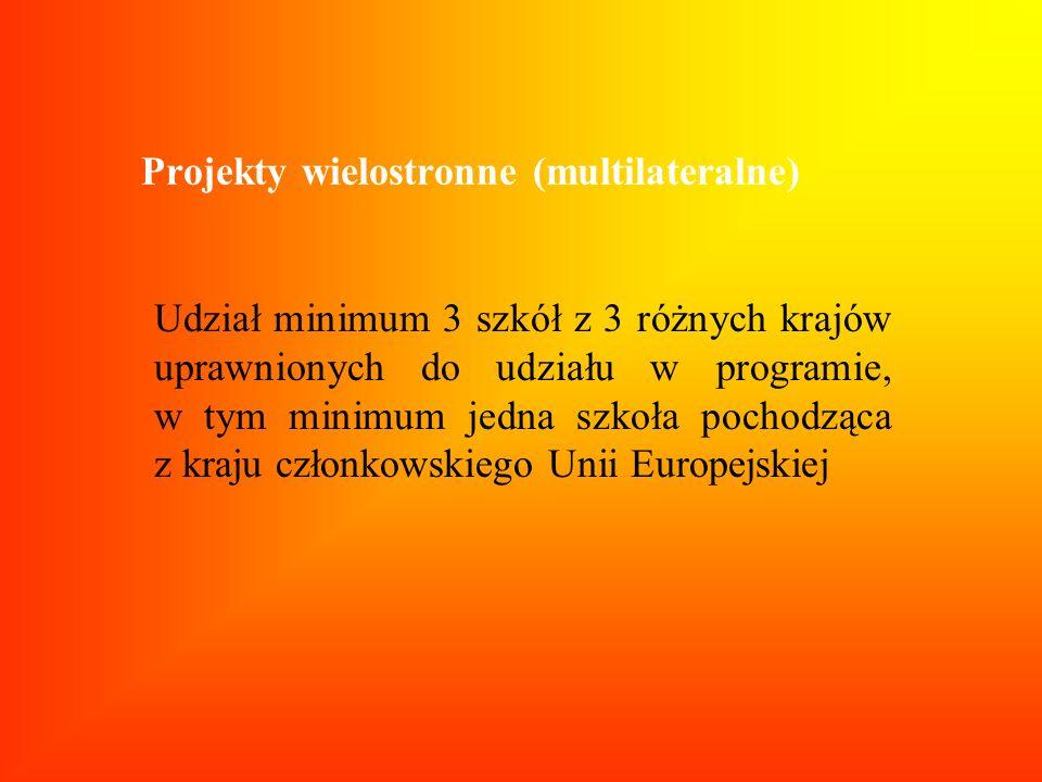 Projekty wielostronne (multilateralne) Udział minimum 3 szkół z 3 różnych krajów uprawnionych do udziału w programie, w tym minimum jedna szkoła pocho