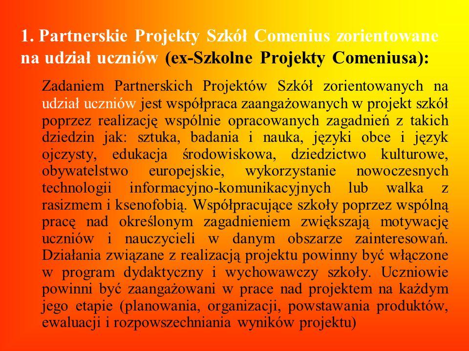 1. Partnerskie Projekty Szkół Comenius zorientowane na udział uczniów (ex-Szkolne Projekty Comeniusa): Zadaniem Partnerskich Projektów Szkół zorientow