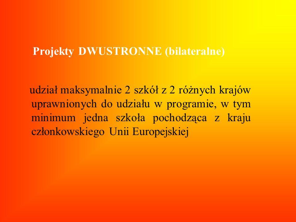 Projekty DWUSTRONNE (bilateralne) udział maksymalnie 2 szkół z 2 różnych krajów uprawnionych do udziału w programie, w tym minimum jedna szkoła pochod