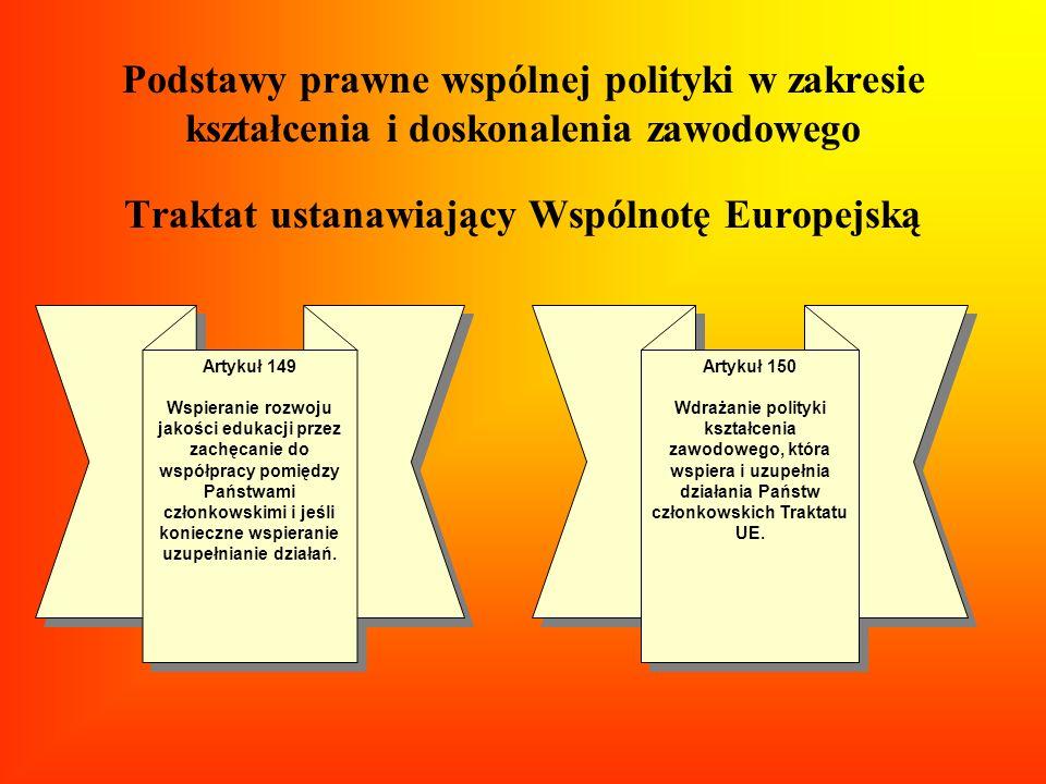 Podstawy prawne wspólnej polityki w zakresie kształcenia i doskonalenia zawodowego Traktat ustanawiający Wspólnotę Europejską Artykuł 149 Wspieranie r
