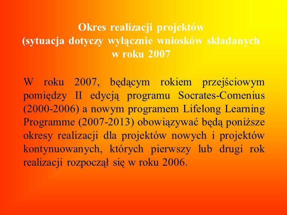 Okres realizacji projektów (sytuacja dotyczy wyłącznie wniosków składanych w roku 2007 W roku 2007, będącym rokiem przejściowym pomiędzy II edycją pro