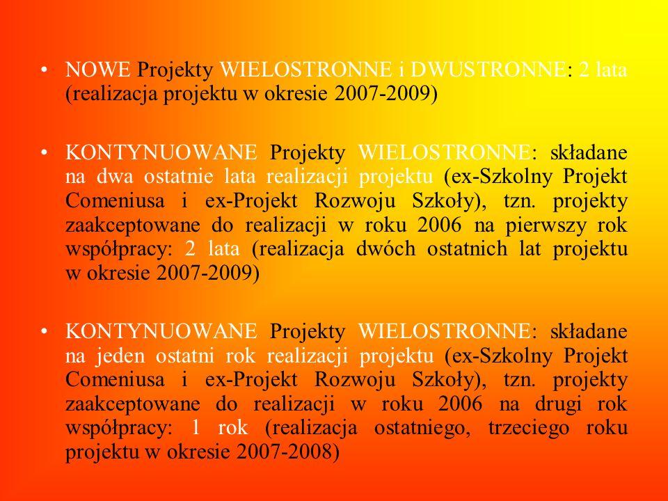 NOWE Projekty WIELOSTRONNE i DWUSTRONNE: 2 lata (realizacja projektu w okresie 2007-2009) KONTYNUOWANE Projekty WIELOSTRONNE: składane na dwa ostatnie