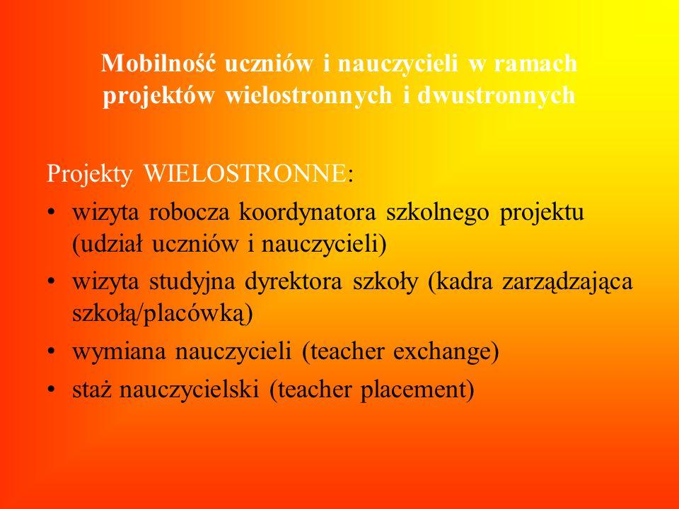 Mobilność uczniów i nauczycieli w ramach projektów wielostronnych i dwustronnych Projekty WIELOSTRONNE: wizyta robocza koordynatora szkolnego projektu