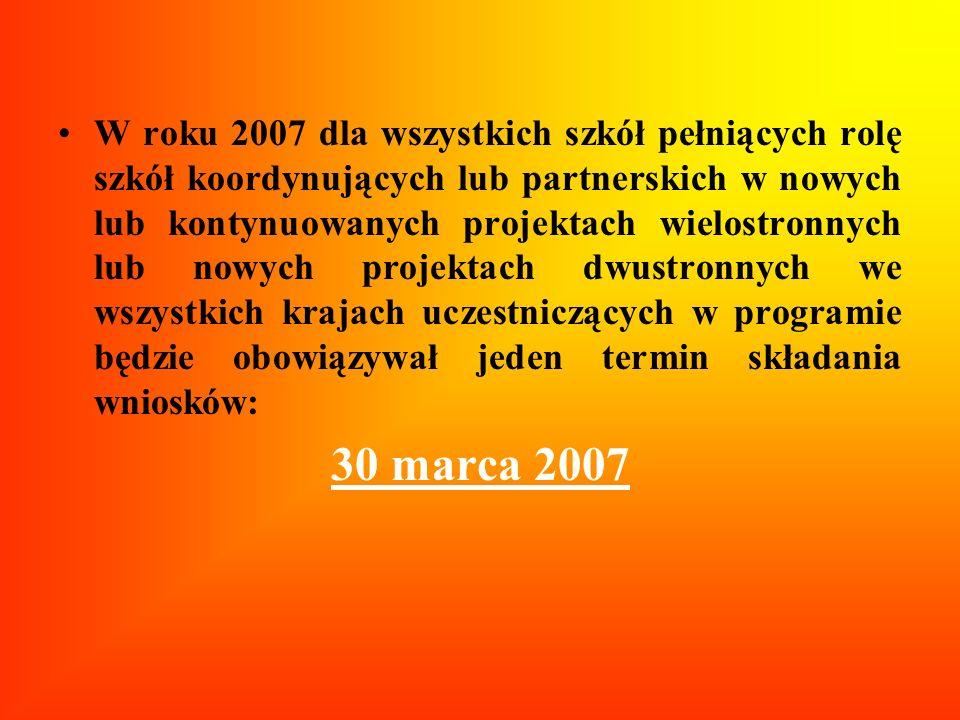 W roku 2007 dla wszystkich szkół pełniących rolę szkół koordynujących lub partnerskich w nowych lub kontynuowanych projektach wielostronnych lub nowyc