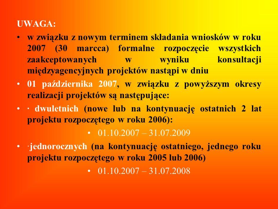 UWAGA: w związku z nowym terminem składania wniosków w roku 2007 (30 marcca) formalne rozpoczęcie wszystkich zaakceptowanych w wyniku konsultacji międ