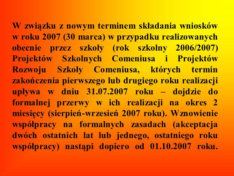W związku z nowym terminem składania wniosków w roku 2007 (30 marca) w przypadku realizowanych obecnie przez szkoły (rok szkolny 2006/2007) Projektów