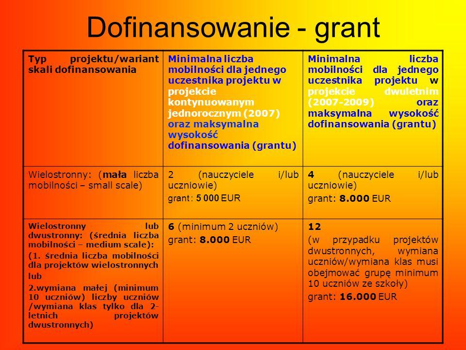 Dofinansowanie - grant Typ projektu/wariant skali dofinansowania Minimalna liczba mobilności dla jednego uczestnika projektu w projekcie kontynuowanym
