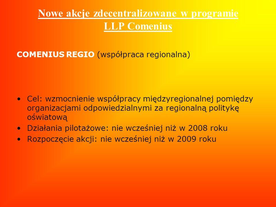 Nowe akcje zdecentralizowane w programie LLP Comenius COMENIUS REGIO (współpraca regionalna) Cel: wzmocnienie współpracy międzyregionalnej pomiędzy or