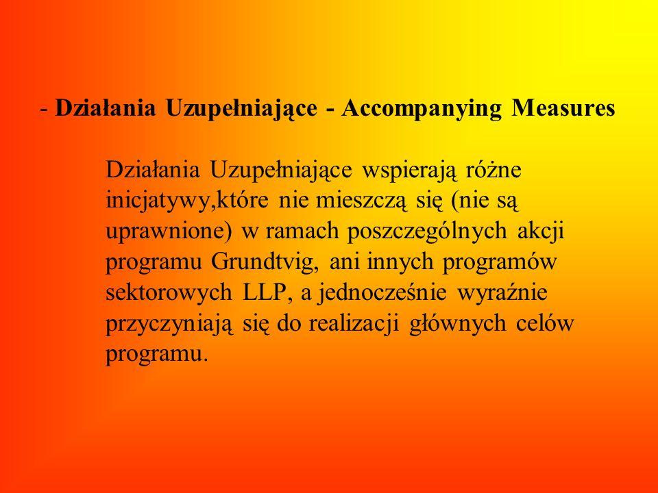 - Działania Uzupełniające - Accompanying Measures Działania Uzupełniające wspierają różne inicjatywy,które nie mieszczą się (nie są uprawnione) w rama