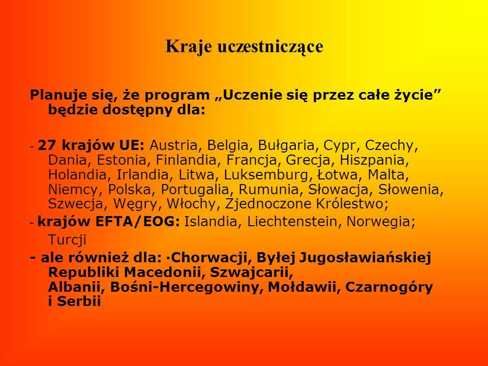 Kraje uczestniczące Planuje się, że program Uczenie się przez całe życie będzie dostępny dla: - 27 krajów UE: Austria, Belgia, Bułgaria, Cypr, Czechy,