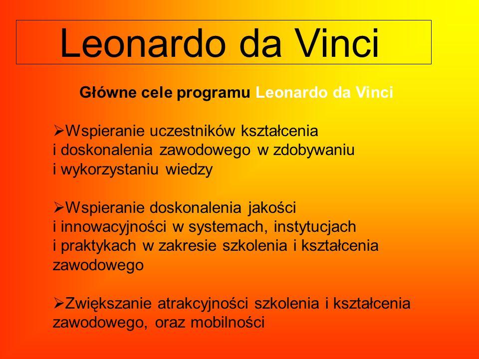 Główne cele programu Leonardo da Vinci Wspieranie uczestników kształcenia i doskonalenia zawodowego w zdobywaniu i wykorzystaniu wiedzy Wspieranie dos