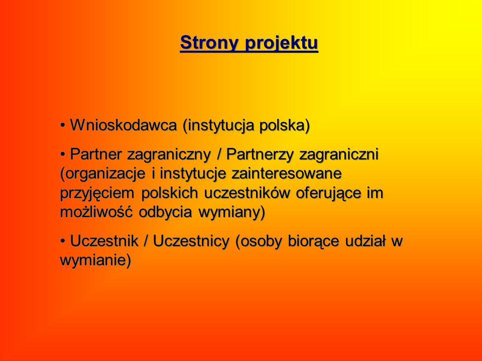 Wnioskodawca (instytucja polska) Partner zagraniczny / Partnerzy zagraniczni (organizacje i instytucje zainteresowane przyjęciem polskich uczestników