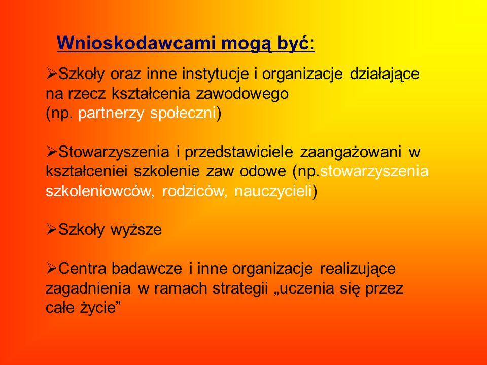 Szkoły oraz inne instytucje i organizacje działające na rzecz kształcenia zawodowego (np. partnerzy społeczni) Stowarzyszenia i przedstawiciele zaanga