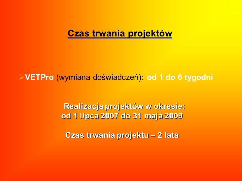 Czas trwania projektów VETPro (wymiana doświadczeń): od 1 do 6 tygodni Realizacja projektów w okresie: Realizacja projektów w okresie: od 1 lipca 2007