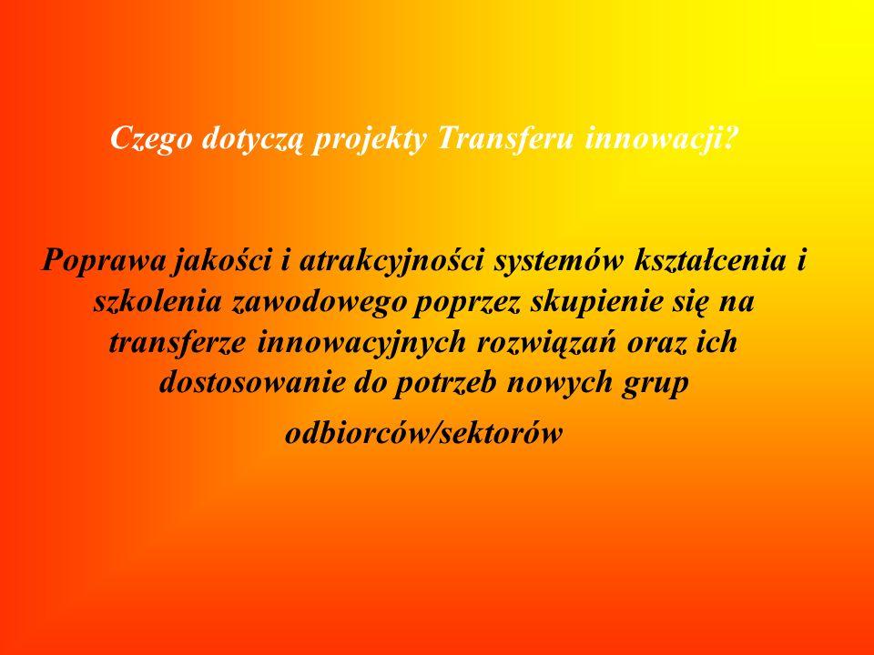 Czego dotyczą projekty Transferu innowacji? Poprawa jakości i atrakcyjności systemów kształcenia i szkolenia zawodowego poprzez skupienie się na trans