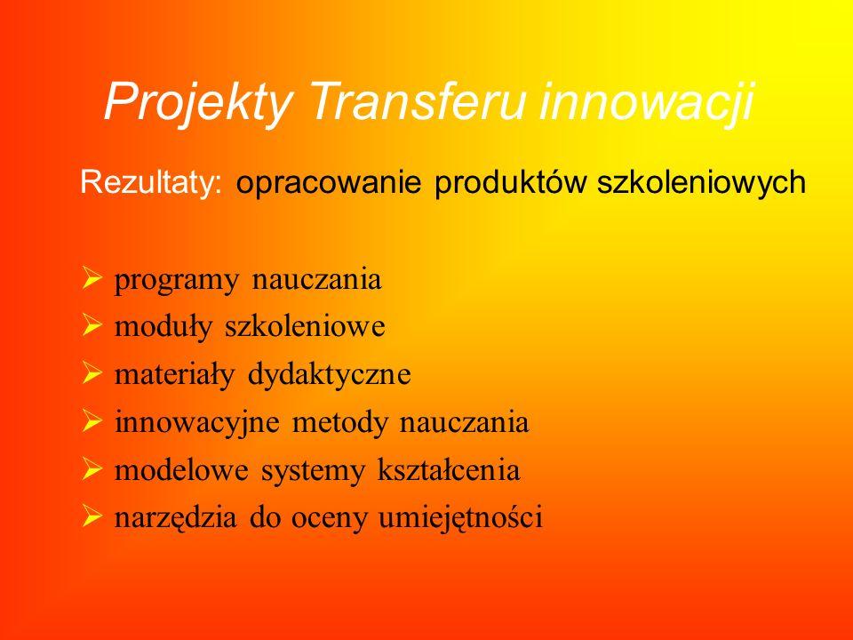 Projekty Transferu innowacji Rezultaty: opracowanie produktów szkoleniowych programy nauczania moduły szkoleniowe materiały dydaktyczne innowacyjne me