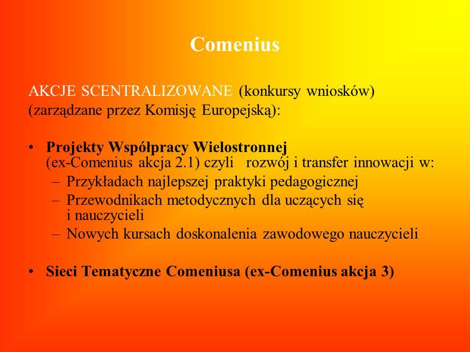 Comenius AKCJE SCENTRALIZOWANE (konkursy wniosków) (zarządzane przez Komisję Europejską): Projekty Współpracy Wielostronnej (ex-Comenius akcja 2.1) cz