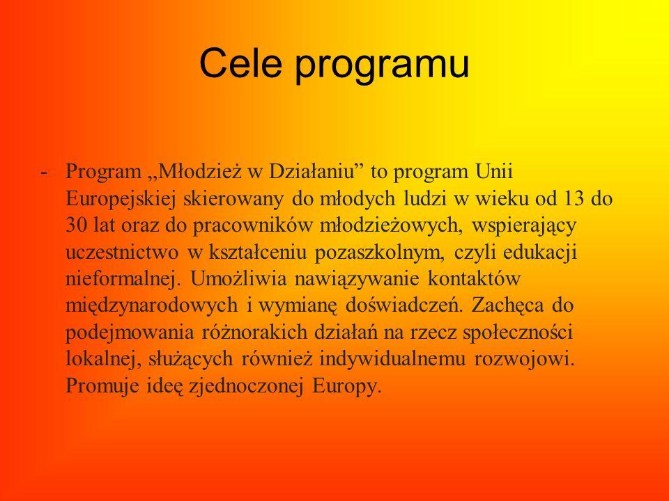 Cele programu -Program Młodzież w Działaniu to program Unii Europejskiej skierowany do młodych ludzi w wieku od 13 do 30 lat oraz do pracowników młodz