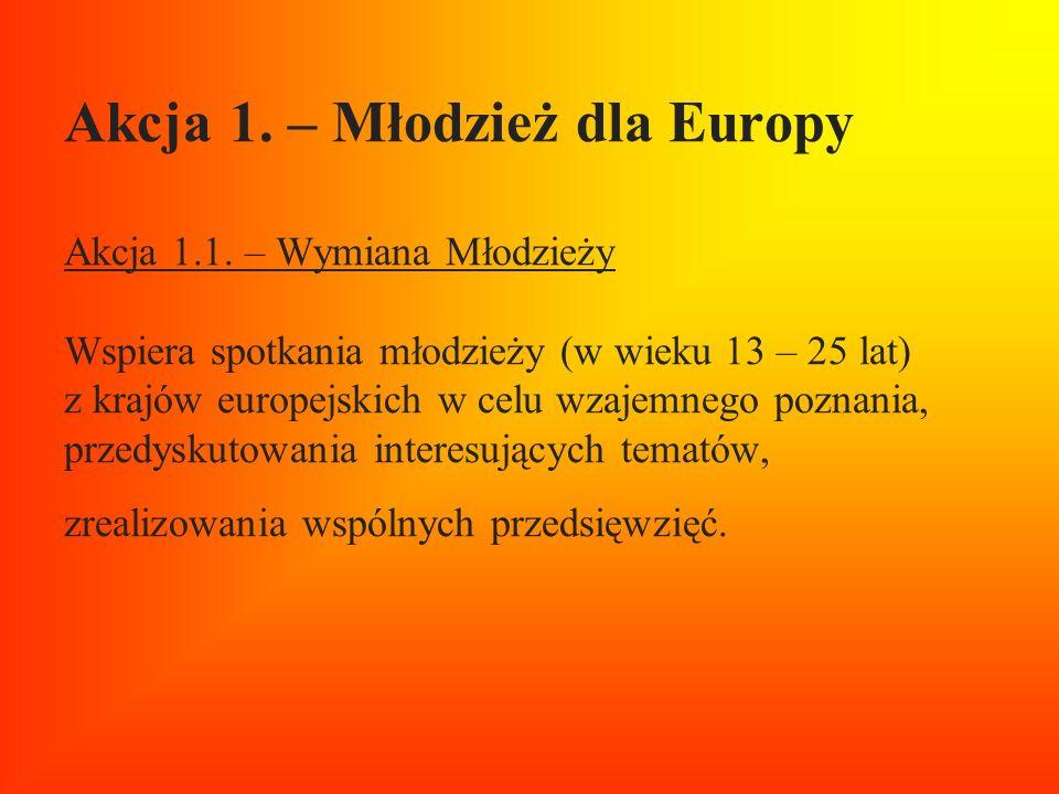 Akcja 1. – Młodzież dla Europy Akcja 1.1. – Wymiana Młodzieży Wspiera spotkania młodzieży (w wieku 13 – 25 lat) z krajów europejskich w celu wzajemneg