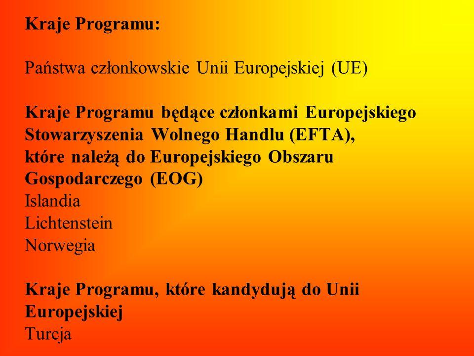 Kraje Programu: Państwa członkowskie Unii Europejskiej (UE) Kraje Programu będące członkami Europejskiego Stowarzyszenia Wolnego Handlu (EFTA), które