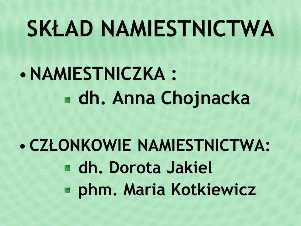 SKŁAD NAMIESTNICTWA NAMIESTNICZKA : dh. Anna Chojnacka CZŁONKOWIE NAMIESTNICTWA: dh.