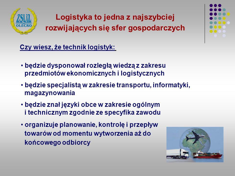 Logistyka to jedna z najszybciej rozwijających się sfer gospodarczych będzie dysponował rozległą wiedzą z zakresu przedmiotów ekonomicznych i logistyc
