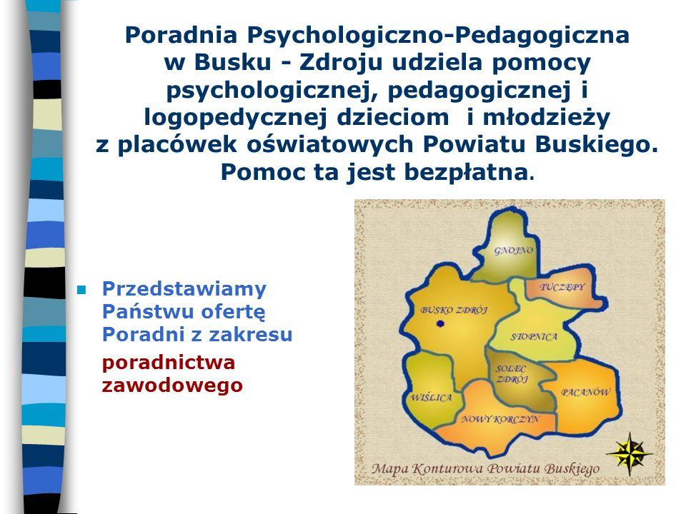 Poradnia Psychologiczno-Pedagogiczna w Busku - Zdroju udziela pomocy psychologicznej, pedagogicznej i logopedycznej dzieciom i młodzieży z placówek oświatowych Powiatu Buskiego.