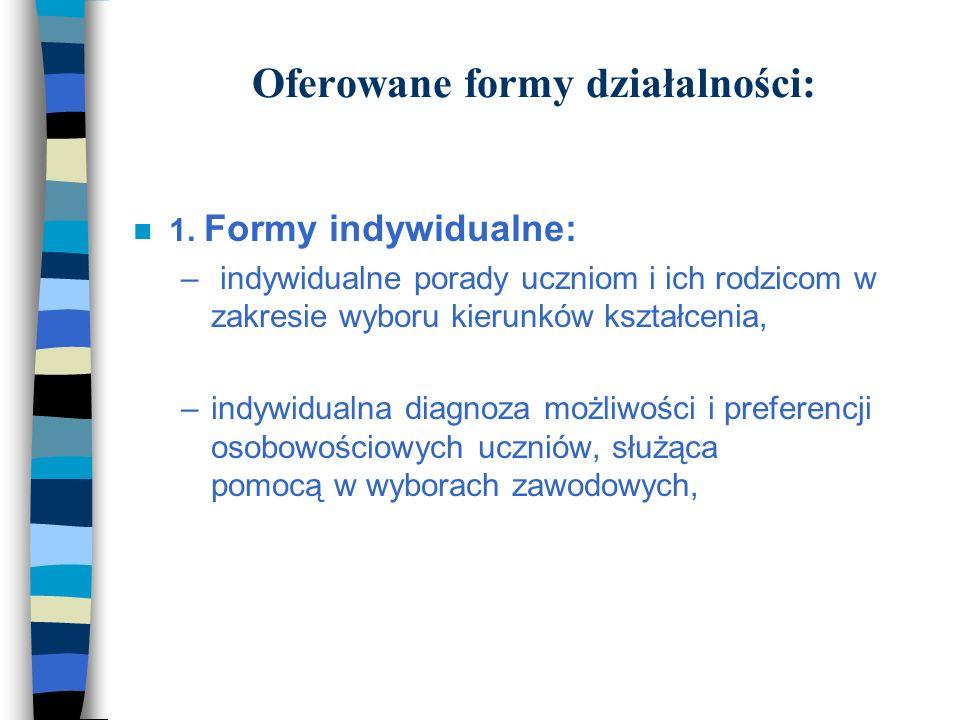 Oferowane formy działalności: 1.