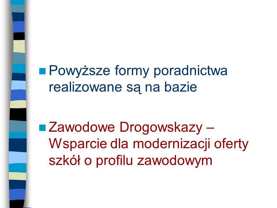 Powyższe formy poradnictwa realizowane są na bazie Zawodowe Drogowskazy – Wsparcie dla modernizacji oferty szkół o profilu zawodowym