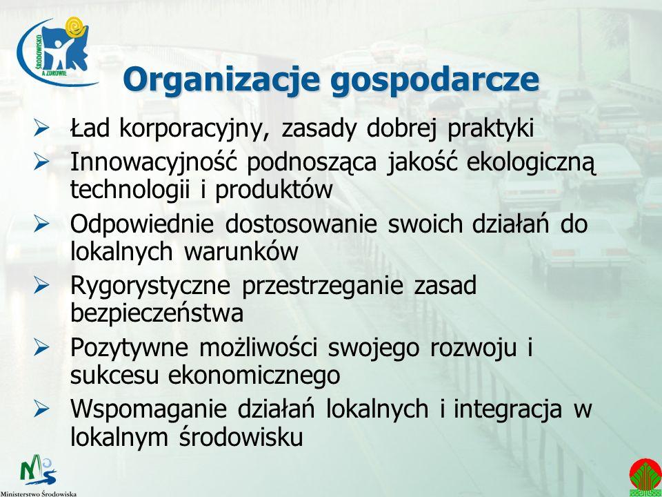 Organizacje gospodarcze Ład korporacyjny, zasady dobrej praktyki Innowacyjność podnosząca jakość ekologiczną technologii i produktów Odpowiednie dosto