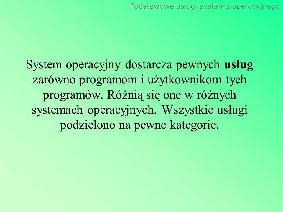 Podstawowe usługi systemu operacyjnego System operacyjny dostarcza pewnych usług zarówno programom i użytkownikom tych programów. Różnią się one w róż