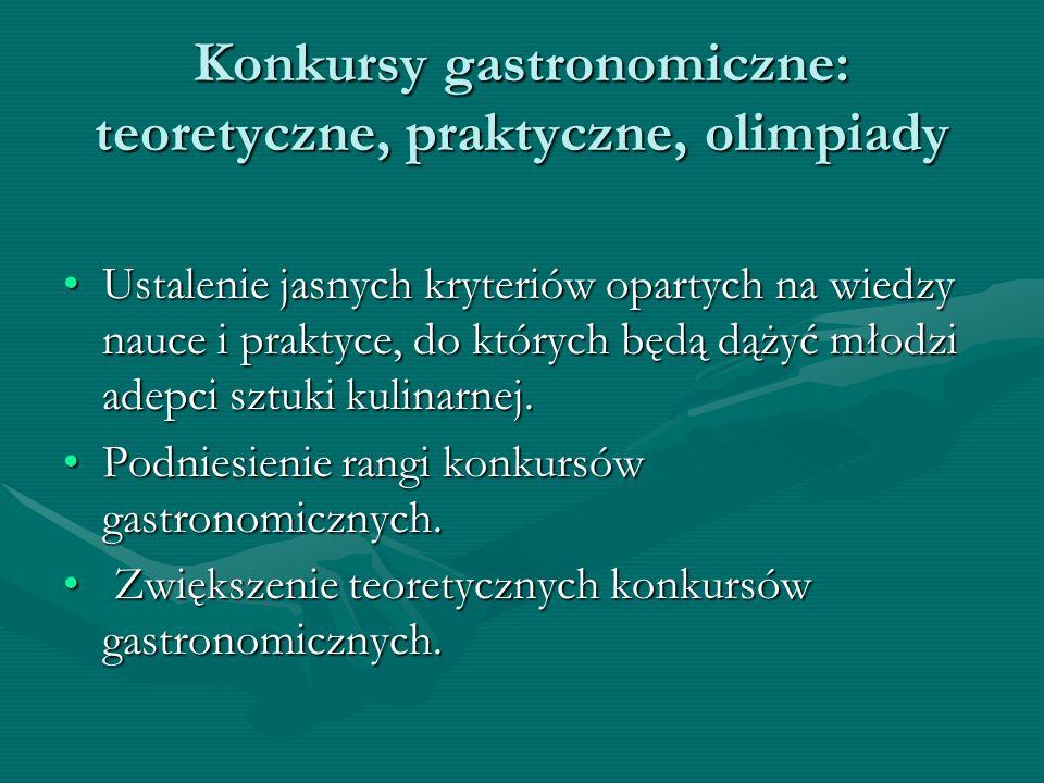 Konkursy gastronomiczne: teoretyczne, praktyczne, olimpiady Ustalenie jasnych kryteriów opartych na wiedzy nauce i praktyce, do których będą dążyć mło