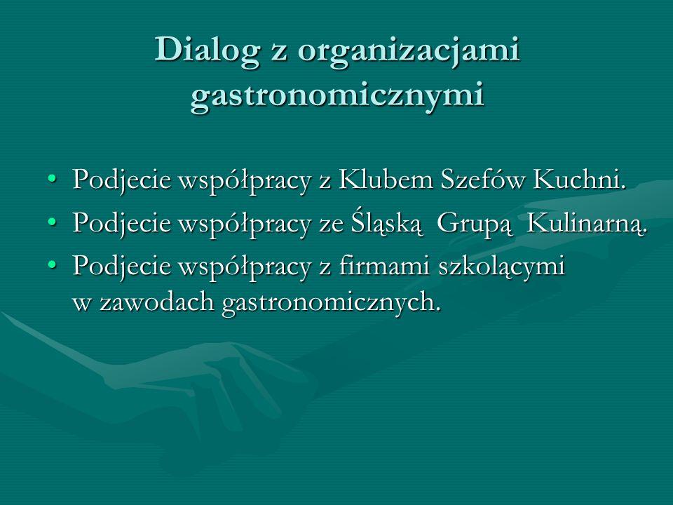 Dialog z organizacjami gastronomicznymi Podjecie współpracy z Klubem Szefów Kuchni.Podjecie współpracy z Klubem Szefów Kuchni.