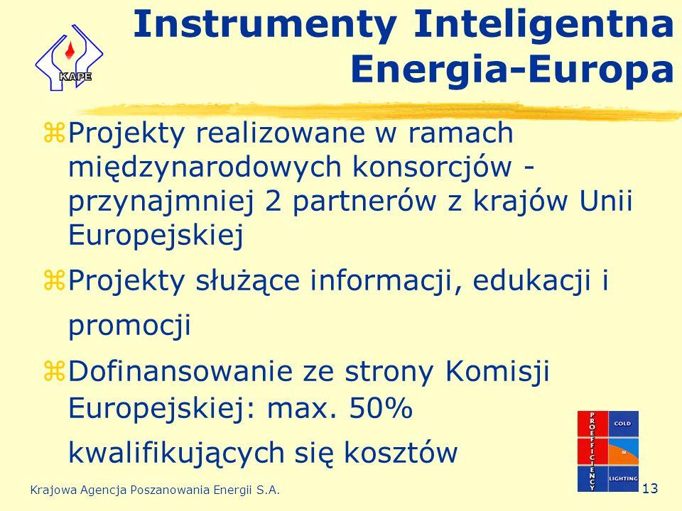 Krajowa Agencja Poszanowania Energii S.A. 13 Instrumenty Inteligentna Energia-Europa zProjekty realizowane w ramach międzynarodowych konsorcjów - przy