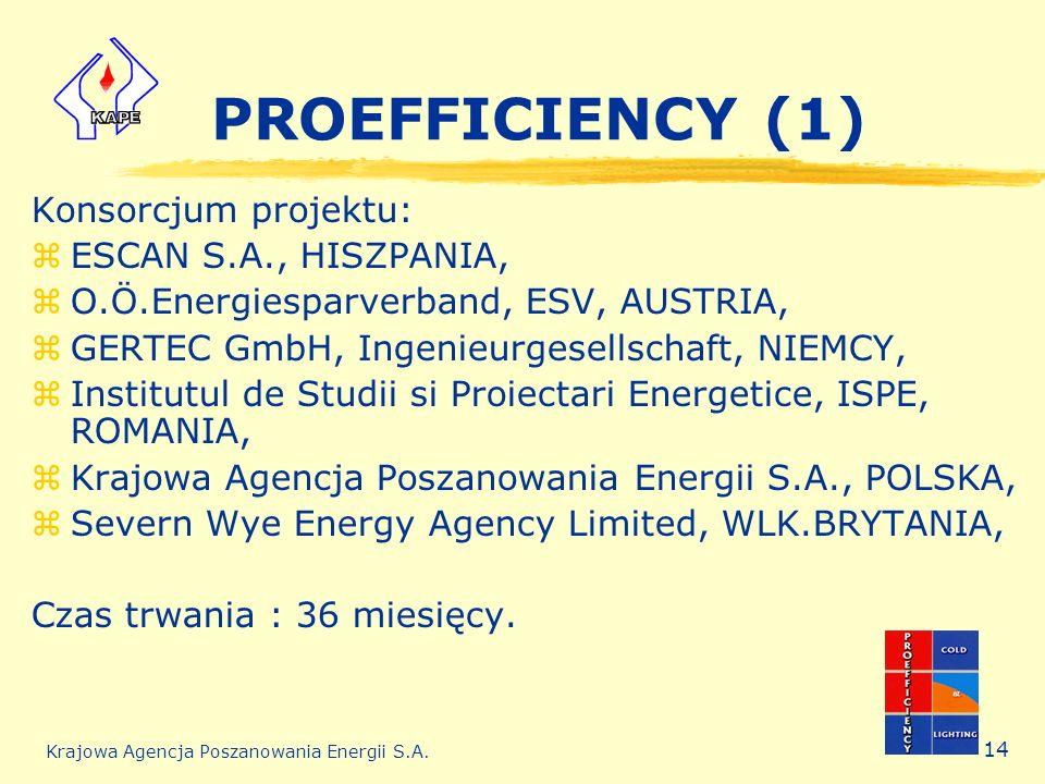 Krajowa Agencja Poszanowania Energii S.A. 14 PROEFFICIENCY (1) Konsorcjum projektu: zESCAN S.A., HISZPANIA, zO.Ö.Energiesparverband, ESV, AUSTRIA, zGE