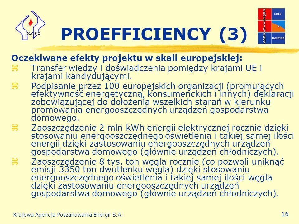 Krajowa Agencja Poszanowania Energii S.A. 16 PROEFFICIENCY (3) Oczekiwane efekty projektu w skali europejskiej: zTransfer wiedzy i doświadczenia pomię