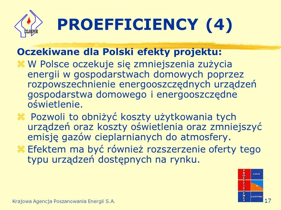 Krajowa Agencja Poszanowania Energii S.A. 17 PROEFFICIENCY (4) Oczekiwane dla Polski efekty projektu: zW Polsce oczekuje się zmniejszenia zużycia ener