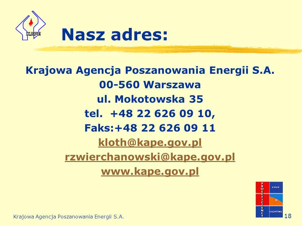 Krajowa Agencja Poszanowania Energii S.A. 18 Nasz adres: Krajowa Agencja Poszanowania Energii S.A. 00-560 Warszawa ul. Mokotowska 35 tel. +48 22 626 0